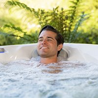 relax in hydropool hot tub